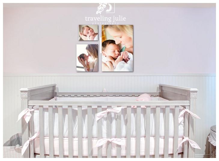 Mother baby photos in nursery
