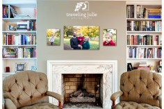 vibrant family photos above fireplace