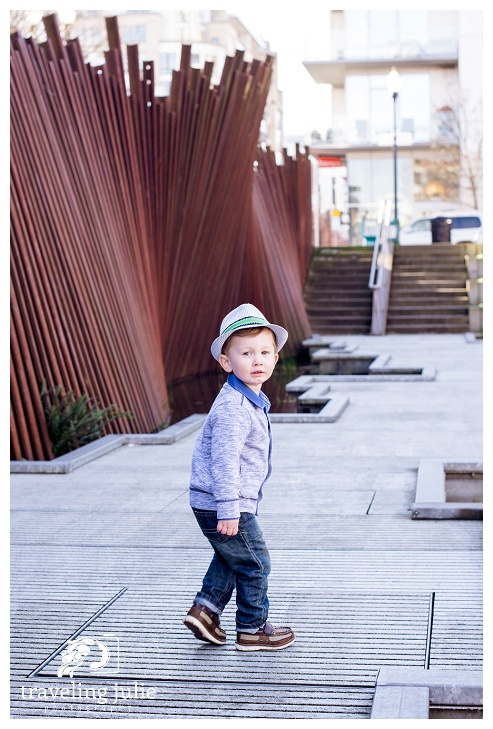 Cute toddler boy at Tanner Springs Park