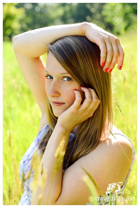 Beautiful senior portrait in tall grass