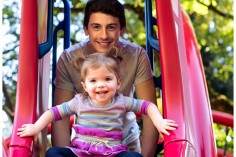 Brother sister on the slide