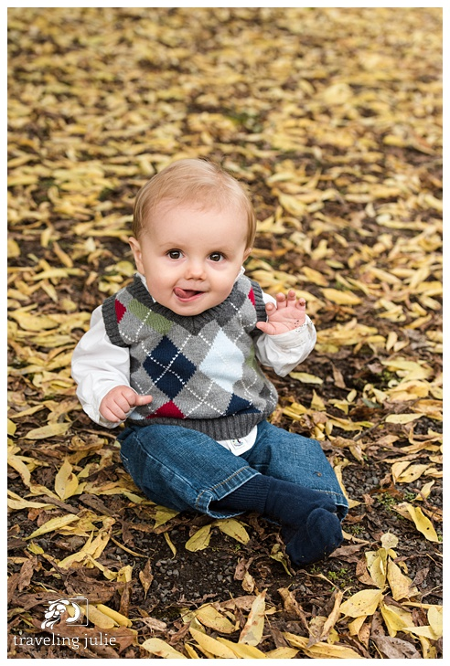 adorable baby in fall leaves